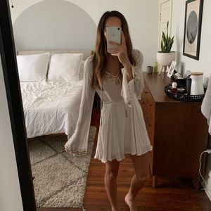 Bell sleeve embroidered ivory long sleeve dress